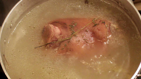 Cooking Pork Knuckle stock footage