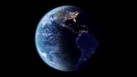 4K Slowly rotating Earth with night lights Animation