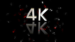 4 K Symbol On A Black Background With Jewels stock footage
