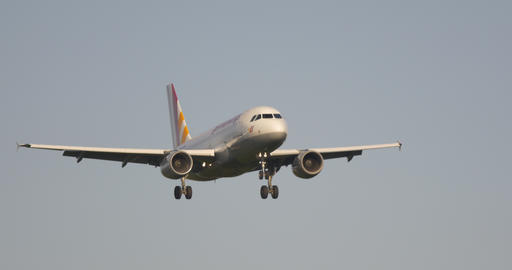 Airport Nuremberg Landing Plane 4 K Cine D stock footage