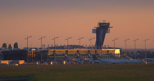 Airport Nuremberg Tower 4 K Cine D stock footage