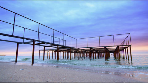 Old Rusty Pier - Ocean Waves And Cloudy Sky Motion stock footage