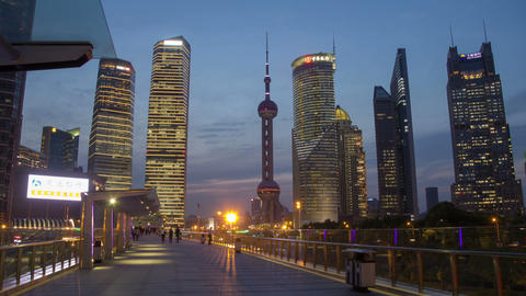 Pudong day to night hyperlapse Footage