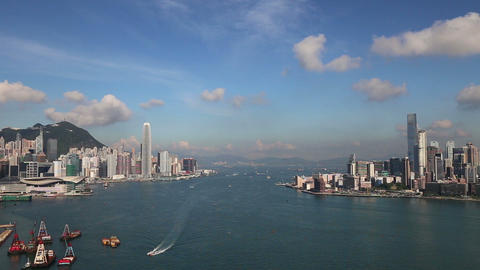 Hong Kong Skyline on a Beautiful Clear Day Footage