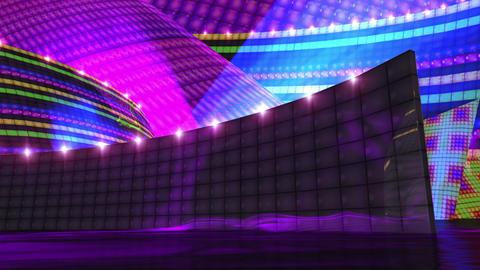 Disco Virtual Set Stage Dark Gold