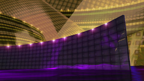 Disco virtual set stage dark gold Animation