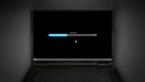 Deleting black laptop screen Animation