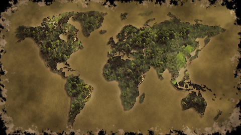 Vintage World Map Burn 1