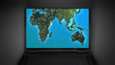 computer world map moving in internet Animation