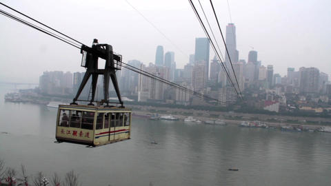 Chongqing Changjiang cableway at daytime Footage