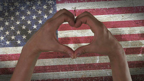 Hands Heart Symbol USA Flag Footage