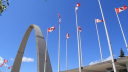 Exhibition Place Arch and Canadian Flags Footage