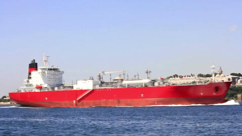 Large Oil Tanker Sails In Front Of Istanbul stock footage