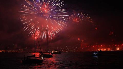 Fireworks set the sea of Bosphorus on fire Footage