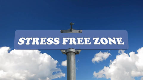 Stress free zone road sign with flowing clouds Footage