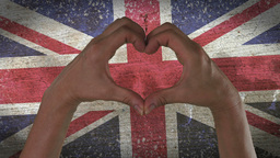 Hands Heart Symbol UK Flag Footage