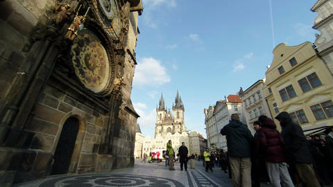 Prague Astronomical Clock Slow Mo stock footage
