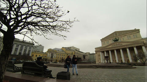Bolshoi Theatre Square in Moscow at Cloudy Day Footage