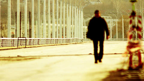 Man On The Bridge In Red Colors stock footage