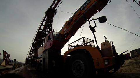 Truck Crane on the Bridge Under Construction Footage