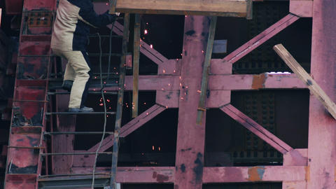 Welding Work at Bridge Slow Motion Footage