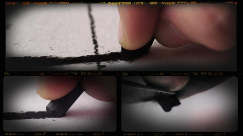 4K Collage Of Charcoal Drawing Macro stock footage