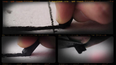 Collage of Charcoal Drawing Macro Live Action