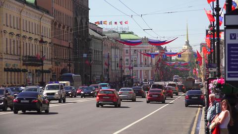 Admiralty and Nevsky prospect. 4K Live Action
