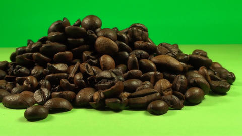 A Pile Of Coffee Beans On A Green Screen, Coffee,  Footage