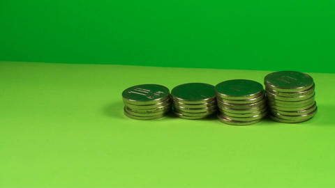 Stack Of Coins On A Green Screen, Chroma, Economy, stock footage