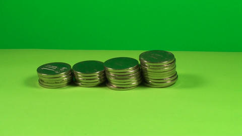 Stack Of Coins On A Green Screen, Chroma, Economy, Live Action