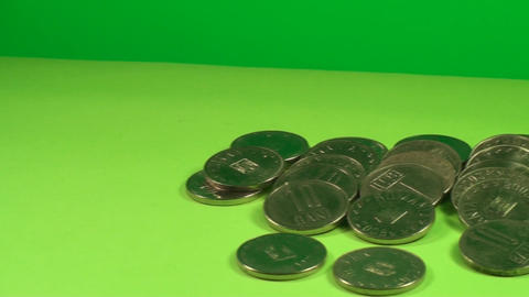 Pile Of Coins On A Green Screen, Currency, Chroma, Footage