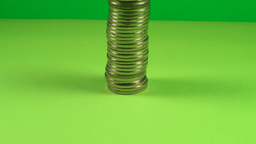 Huge Stack Of Coins On A Green Screen, Chroma, Cur Live Action
