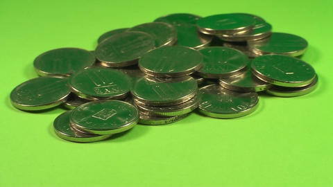 Pile Of Coins On A Green Screen, Currency, Chroma, Live Action