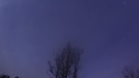 Rotation of stars in the sky. Time Lapse. 1280x720 Footage