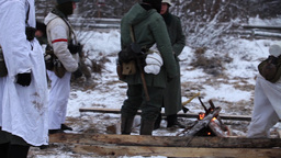 Winter war Soldiers around the campfire Footage