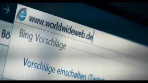 Typing WORLDWIDEWEB into a browser, WWW, URL Footage