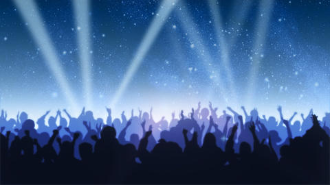 Cheering Crowd Under Stars Animation