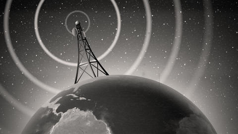 Retro Antenna Broadcasting Sign Animation