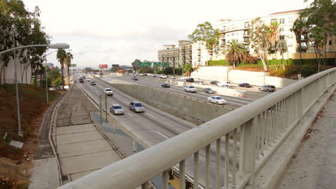 Time Lapse Sequence Of Traffic On Freeway stock footage