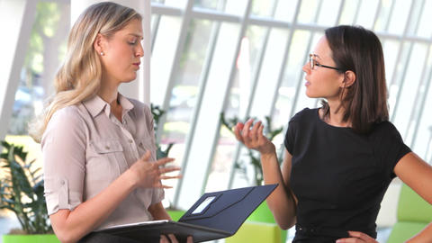 Two Businesswomen Discussing Document In Office Footage
