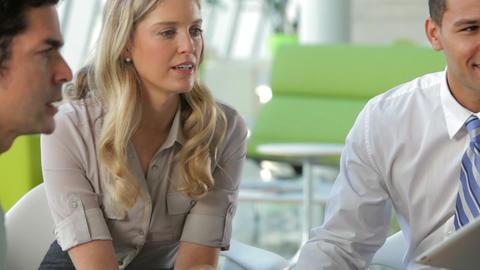 Businesspeople Using Digital Tablet In Meeting Footage
