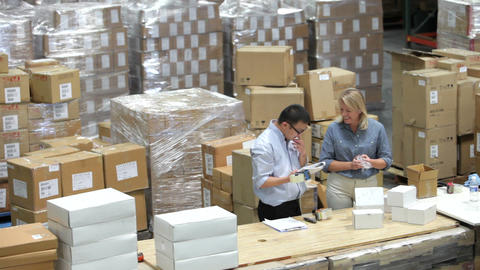 Time Lapse Shot Of Packing And Dispatching Goods stock footage