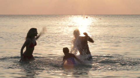 Silhouette Of Family Having Fun In Sea Footage