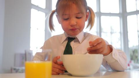 Girl Wearing School Uniform Eating Breakfast Cerea Footage