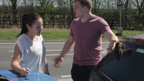 Two Drivers Exchange Insurance Details After Accid Footage