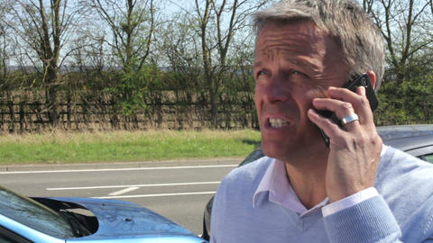 Driver Making Phone Call After Traffic Accident Footage