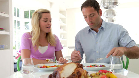 Family Eating Meal At Home Together stock footage