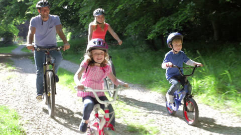 Family On Cycle Ride In Countryside Footage