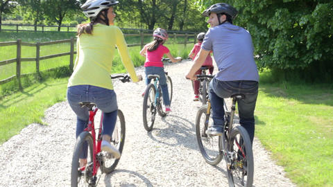 Hispanic Family On Cycle Ride In Countryside Footage
